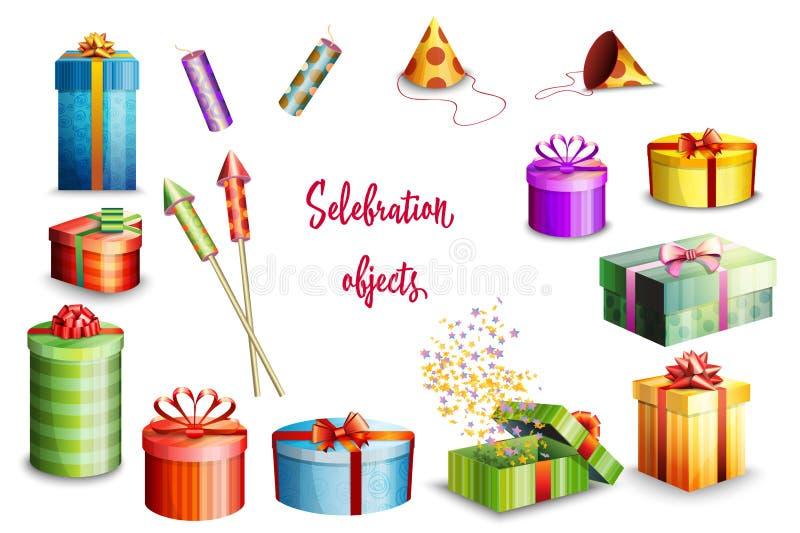 Μεγάλο σύνολο κιβωτίων δώρων του διαφορετικού σχεδίου και των πυροτεχνημάτων στο άσπρο υπόβαθρο διάνυσμα διανυσματική απεικόνιση
