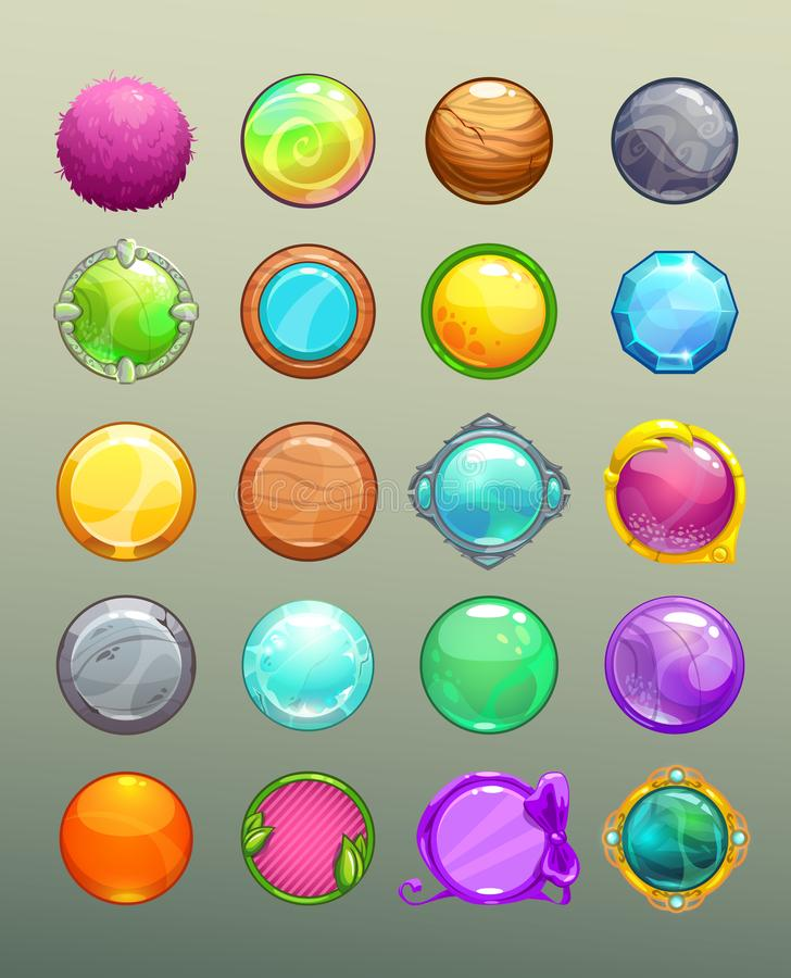 Μεγάλο σύνολο κινούμενων σχεδίων γύρω από τα ζωηρόχρωμα κουμπιά ελεύθερη απεικόνιση δικαιώματος