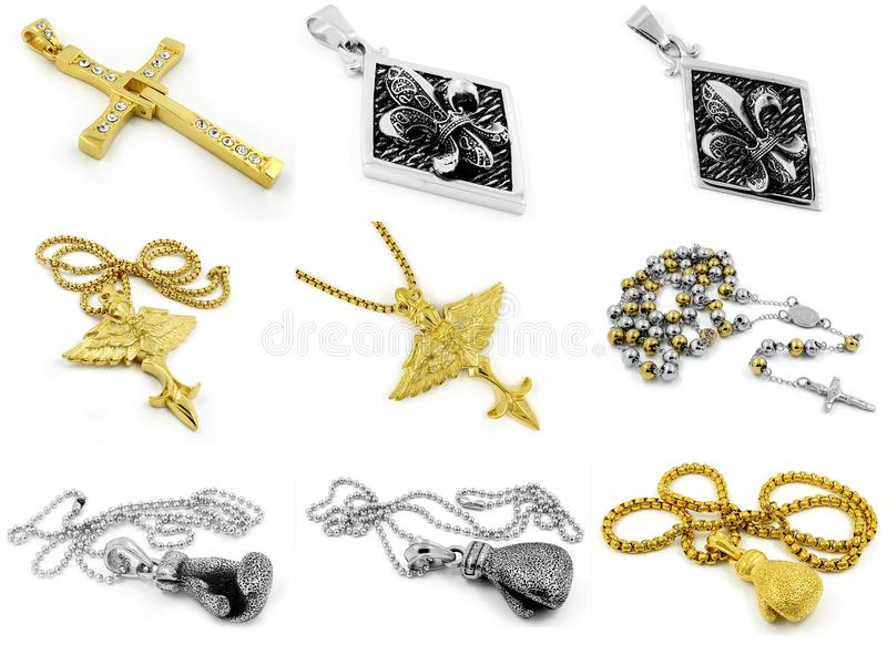 Μεγάλο σύνολο κοσμήματος - κρεμαστά κοσμήματα και περιδέραια στοκ φωτογραφία με δικαίωμα ελεύθερης χρήσης