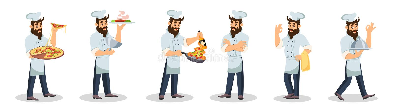 Μεγάλο σύνολο με το γενειοφόρο αρχιμάγειρα στην ΚΑΠ και την ποδιά που μαγειρεύοντας γεύμα, φέρνοντας πιάτα απεικόνιση αποθεμάτων