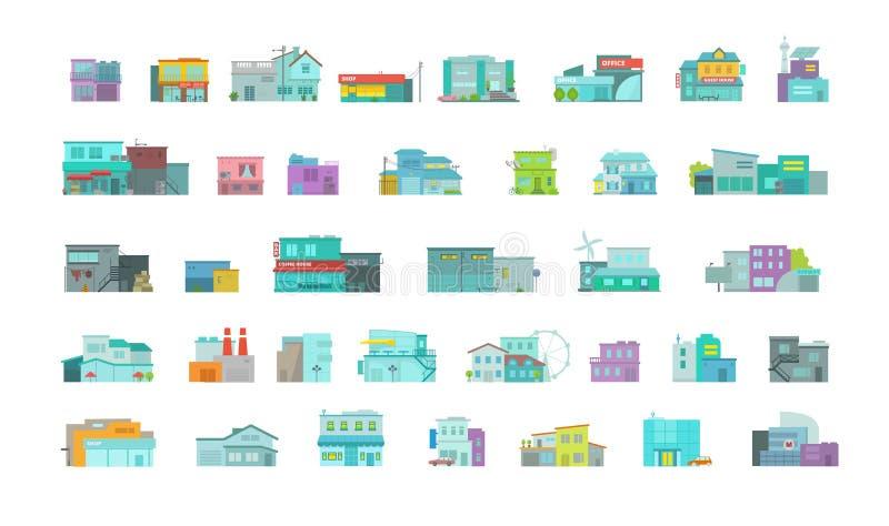 Μεγάλο σύνολο πόλης κτηρίων αρχιτεκτονικής σχηματίστε τόξο την όψη θριάμ&bet Επίπεδη διανυσματική γραφική παράσταση αποθεμάτων Πο ελεύθερη απεικόνιση δικαιώματος
