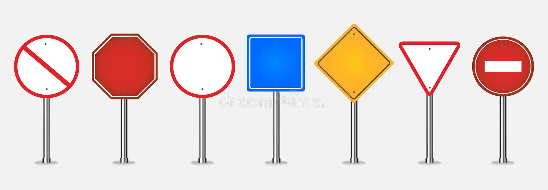 Μεγάλο σύνολο σημαδιών κυκλοφορίας ελεύθερη απεικόνιση δικαιώματος