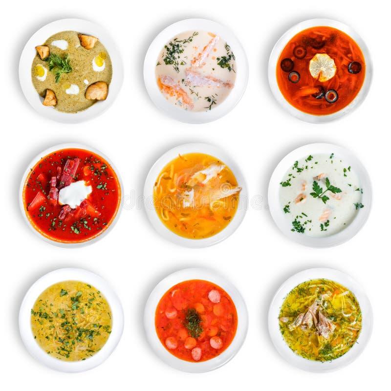 Μεγάλο σύνολο σουπών από τις παγκόσμιες κουζίνες, υγιή τρόφιμα στοκ φωτογραφία με δικαίωμα ελεύθερης χρήσης