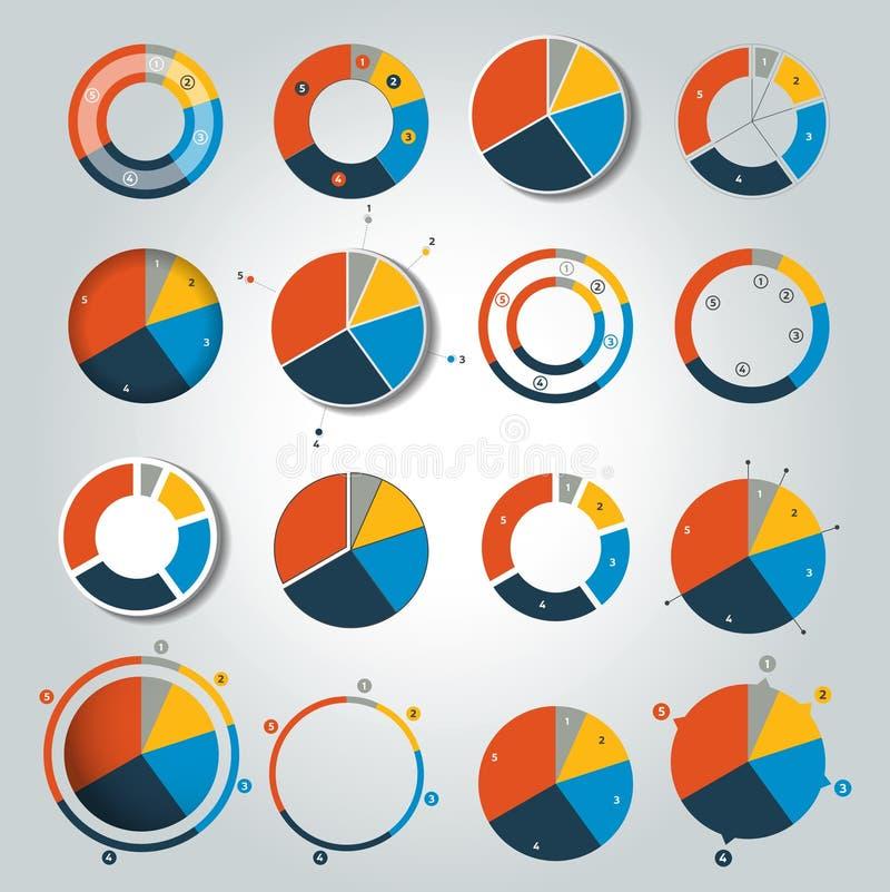 Μεγάλο σύνολο στρογγυλού, διαγράμματος κύκλων, γραφική παράσταση Απλά χρώμα editable διανυσματική απεικόνιση
