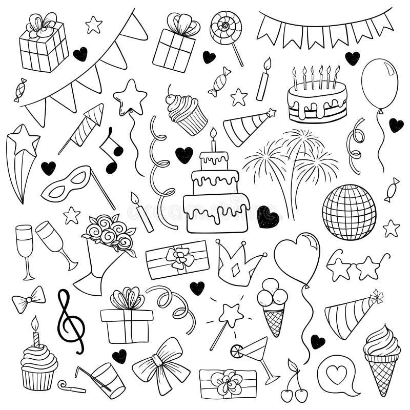 Μεγάλο σύνολο συρμένων χέρι doodle αντικειμένων και συμβόλων κινούμενων σχεδίων στη γιορτή γενεθλίων ευχετήρια κάρτα διακοπών σχε ελεύθερη απεικόνιση δικαιώματος