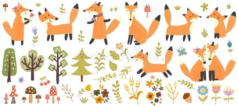 Μεγάλο σύνολο χαριτωμένων αλεπούδων, δέντρων και εγκαταστάσεων Δασική συλλογή στοιχείων ελεύθερη απεικόνιση δικαιώματος
