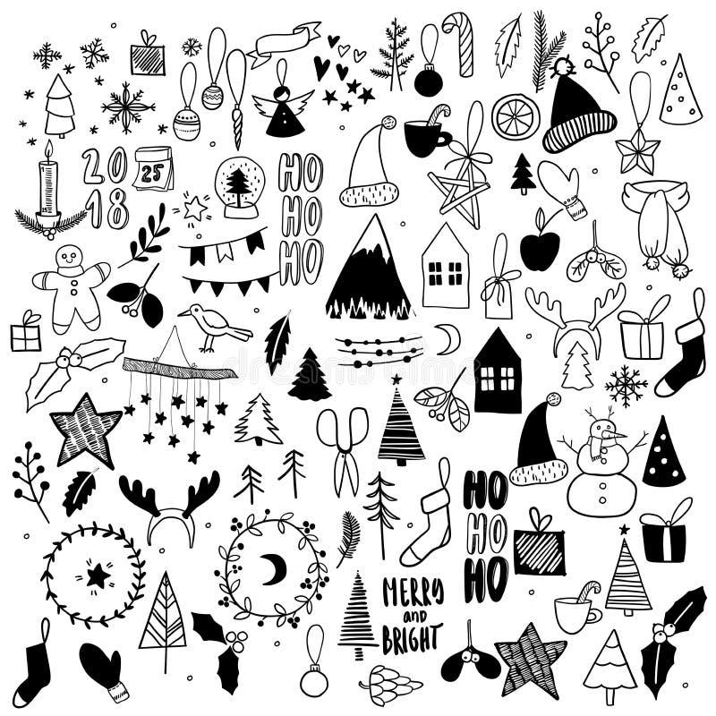 Μεγάλο σύνολο Χριστουγέννων doodles Συρμένα χέρι διανυσματικά εικονίδια Χριστούγεννα και νέες scrapbooking αυτοκόλλητες ετικέττες διανυσματική απεικόνιση