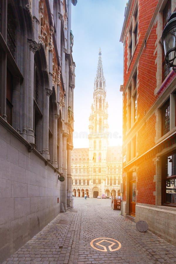 Μεγάλο τετράγωνο θέσεων στις Βρυξέλλες, διάσημος τόπος προορισμού τουριστών, Βέλγιο στοκ φωτογραφίες με δικαίωμα ελεύθερης χρήσης