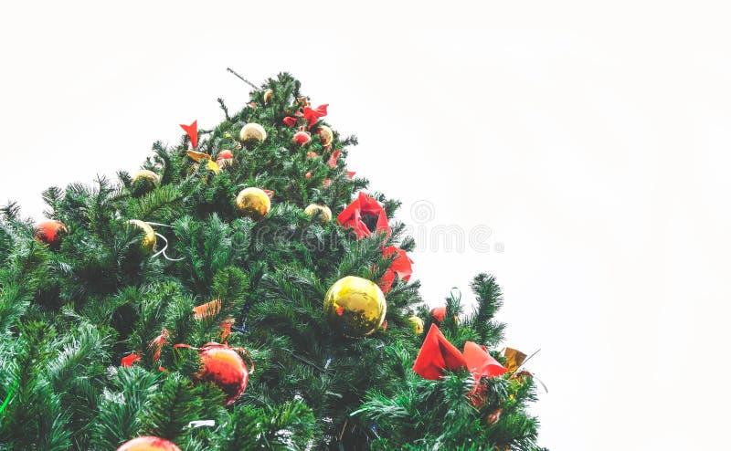 Μεγάλο υπαίθριο χριστουγεννιάτικο δέντρο ενάντια σε μια άσπρη άποψη ουρανού από κάτω από στοκ εικόνες