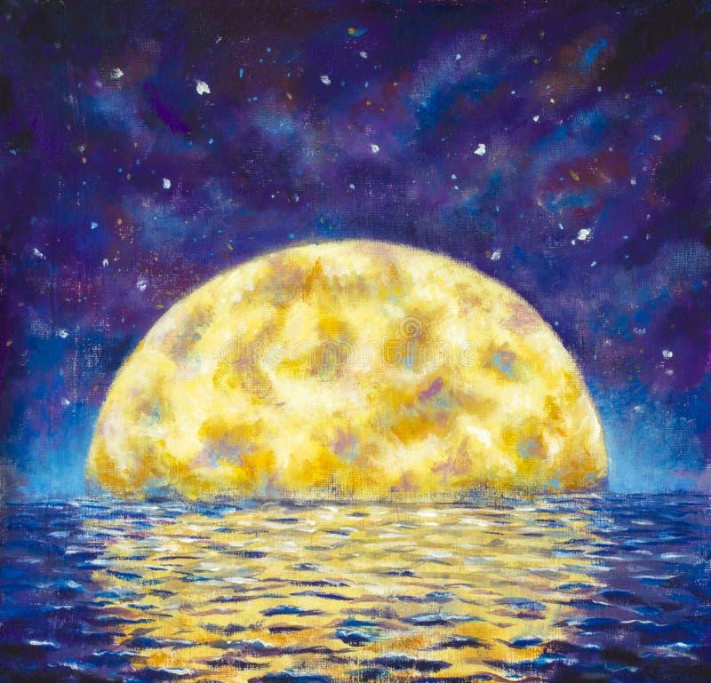 μεγάλο φεγγάρι Το αρχικό ακρυλικό μεγάλο καμμένος φεγγάρι ζωγραφικής Α απεικονίζεται στο νερό, θάλασσα, ωκεανός Τοπίο νύχτας με έ απεικόνιση αποθεμάτων