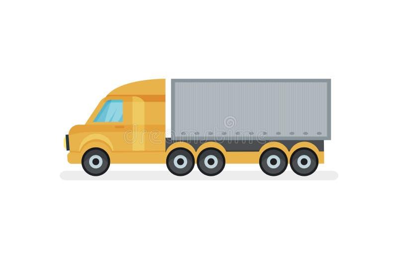 Μεγάλο φορτηγό με το εμπορευματοκιβώτιο μετάλλων, πλάγια όψη Βαριά μεταφορά Μηχανοκίνητο όχημα Επίπεδο διανυσματικό σχέδιο διανυσματική απεικόνιση