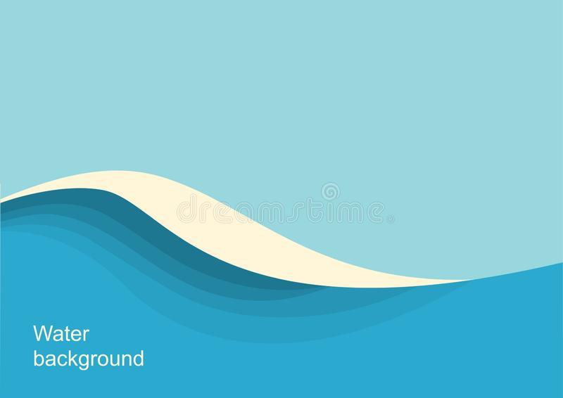 Μεγάλο ωκεάνιο seascape κυμάτων Διανυσματικό μπλε υπόβαθρο με το κύμα και τον ουρανό θάλασσας διανυσματική απεικόνιση