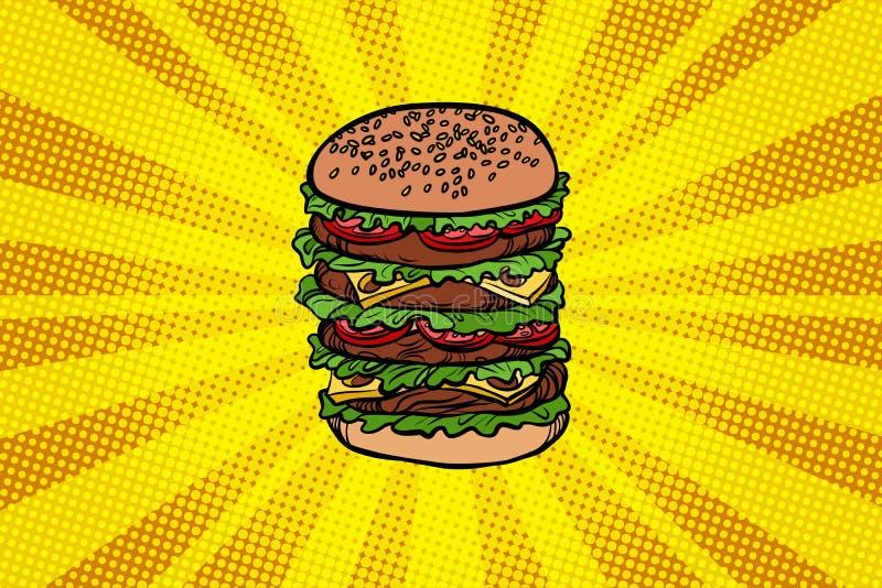Μεγάλο Burger γρήγορο φαγητό διανυσματική απεικόνιση