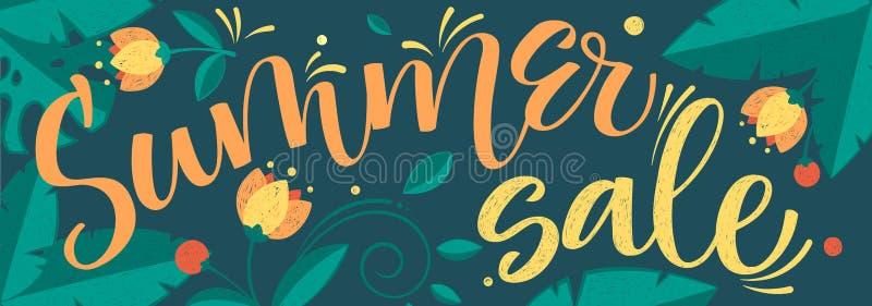 Μεγάλο floral σχέδιο καλλιγραφίας χρώματος θερινής πώλησης διανυσματικό διανυσματική απεικόνιση