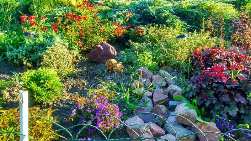Μεγάλο Flowerbed με τα κουνέλια στοκ εικόνες με δικαίωμα ελεύθερης χρήσης