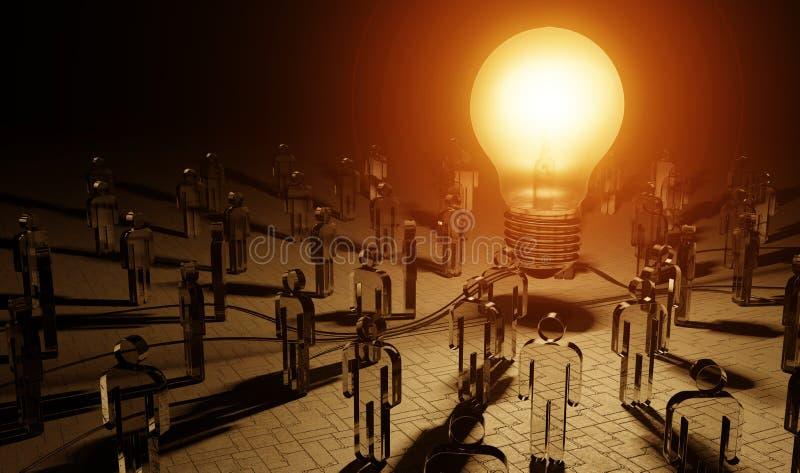 Μεγάλο lightbulb που φωτίζει μια τρισδιάστατη απόδοση ομάδων ανθρώπων στοκ φωτογραφία
