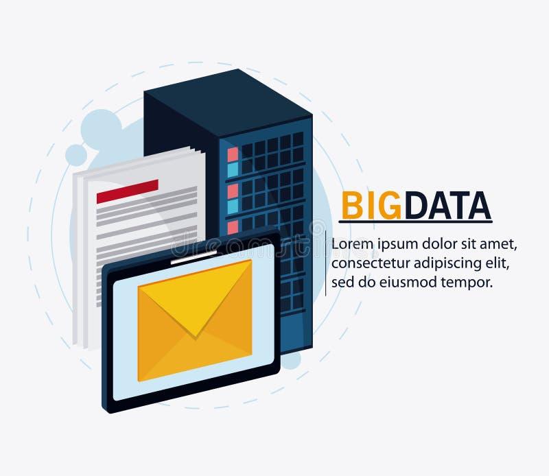 Μεγάλα βάση κέντρων δεδομένων και σύνολο εικονιδίων φιλοξενίας Ιστού απεικόνιση αποθεμάτων