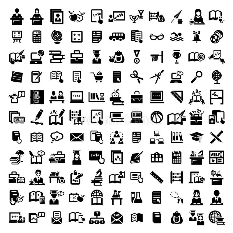 Μεγάλα εικονίδια εκπαίδευσης καθορισμένα απεικόνιση αποθεμάτων