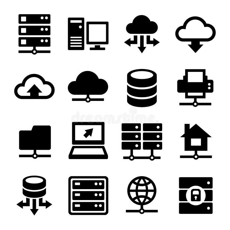 Μεγάλα εικονίδια κέντρων δεδομένων και κεντρικών υπολογιστών καθορισμένα διάνυσμα ελεύθερη απεικόνιση δικαιώματος