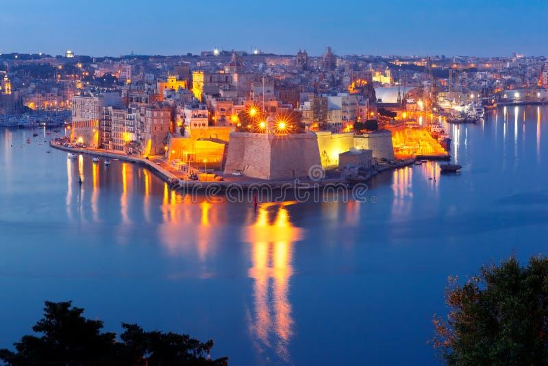 Μεγάλα λιμάνι και Senglea από Valletta, Μάλτα στοκ φωτογραφία με δικαίωμα ελεύθερης χρήσης