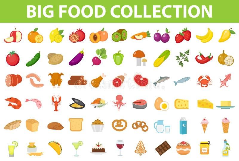 Μεγάλα καθορισμένα τρόφιμα εικονιδίων, επίπεδο ύφος Φρούτα, λαχανικά, κρέας, ψάρια, ψωμί, γάλα, γλυκά Εικονίδιο γεύματος στο λευκ ελεύθερη απεικόνιση δικαιώματος