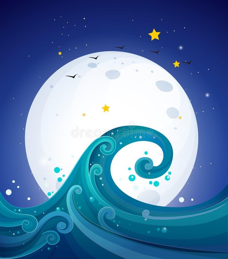 Μεγάλα κύματα κάτω από το φωτεινό fullmoon διανυσματική απεικόνιση