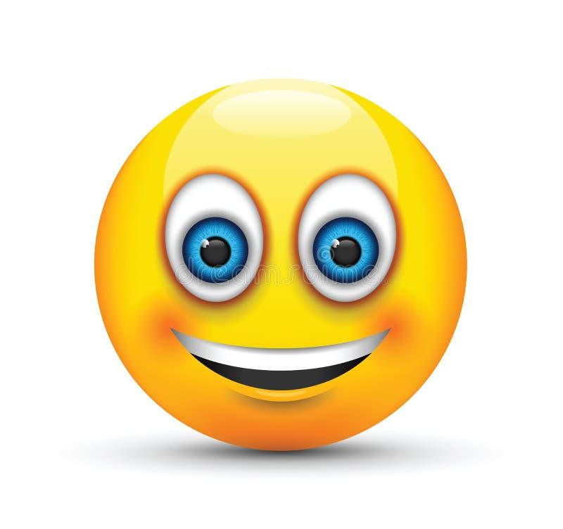 Μεγάλα μπλε μάτια emoji χαμόγελου ελεύθερη απεικόνιση δικαιώματος