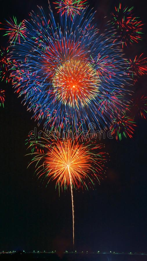 Μεγάλα πυροτεχνήματα Nobi (Noubi) fetival στοκ φωτογραφίες