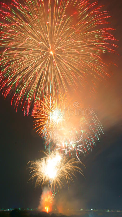 Μεγάλα πυροτεχνήματα Nobi (Noubi) fetival στοκ φωτογραφία με δικαίωμα ελεύθερης χρήσης