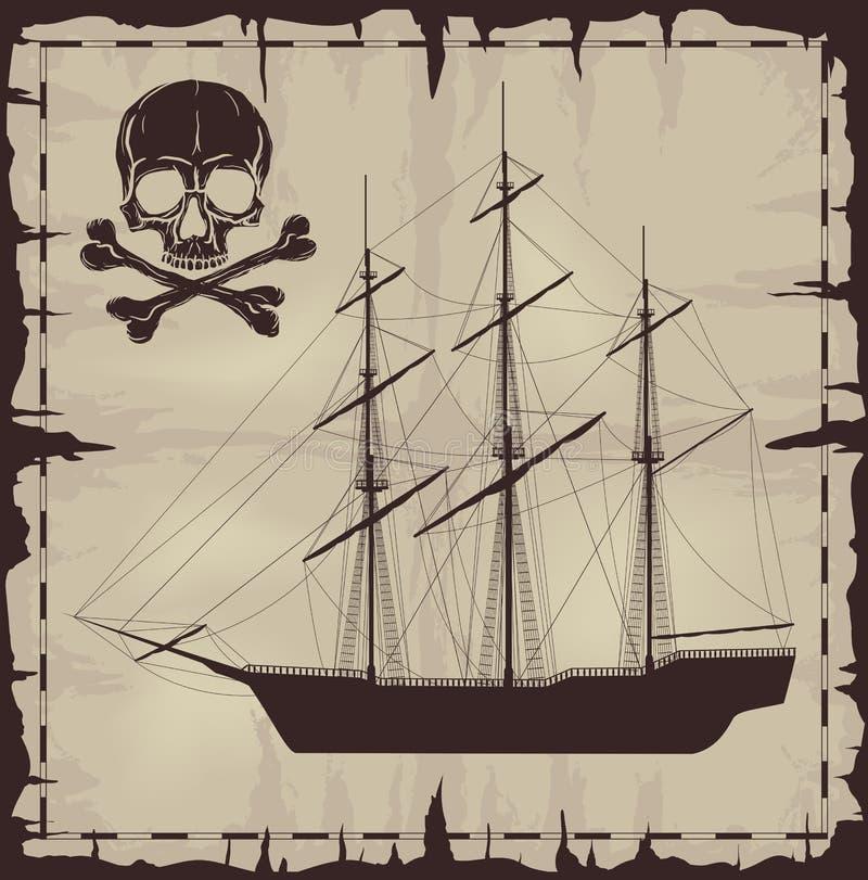 Μεγάλα σκάφος και κρανίο πέρα από το παλαιό έγγραφο απεικόνιση αποθεμάτων