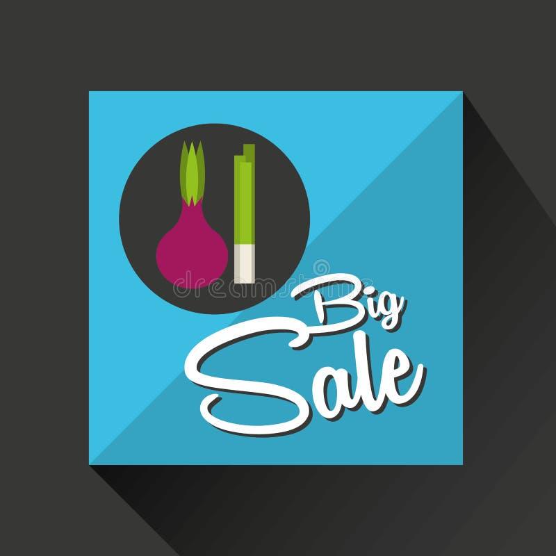 Μεγάλα φρέσκα φρέσκα κρεμμύδια κρεμμυδιών έννοιας πώλησης απεικόνιση αποθεμάτων
