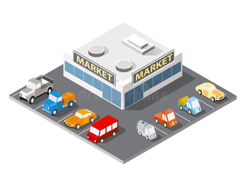 Μεγάλες αγορές υπεραγορών διανυσματική απεικόνιση
