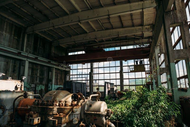 Μεγάλες εγκαταλειμμένες βιομηχανικές εργοστάσιο ή εγκαταστάσεις με τον εξοπλισμό χάλυβα, που εισβάλλεται με τις εγκαταστάσεις στοκ εικόνα με δικαίωμα ελεύθερης χρήσης