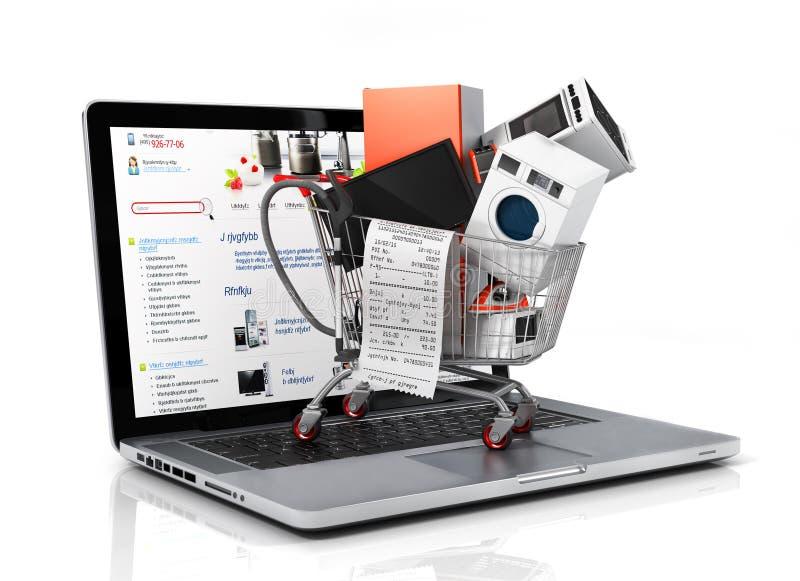 Μεγάλες εγχώριες συσκευές με έναν έλεγχο στο κάρρο αγορών στο ν διανυσματική απεικόνιση