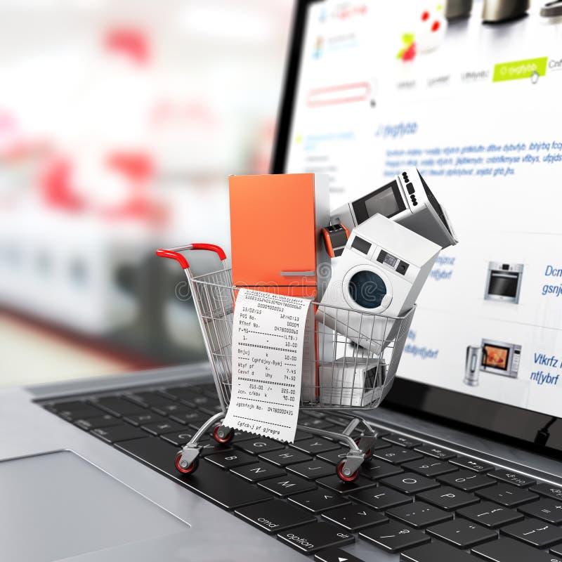 Μεγάλες εγχώριες συσκευές με έναν έλεγχο στο κάρρο αγορών στο σημειωματάριο ελεύθερη απεικόνιση δικαιώματος