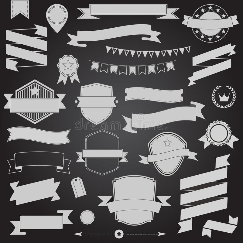 Μεγάλες κορδέλλες σχεδίου συνόλου αναδρομικές και διανυσματικά στοιχεία σχεδίου διακριτικών απεικόνιση αποθεμάτων
