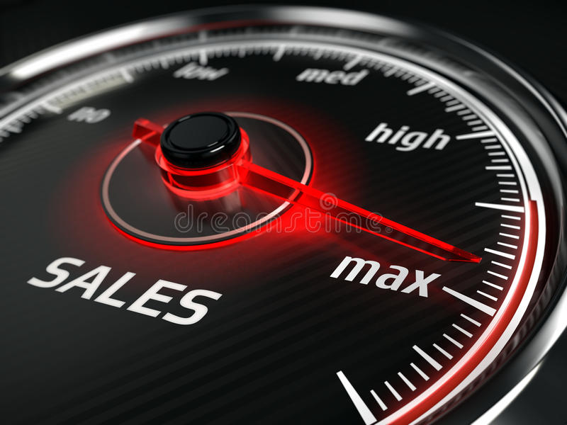 Μεγάλες πωλήσεις - ταχύμετρο πωλήσεων με τα σημεία βελόνων στο μέγιστο ελεύθερη απεικόνιση δικαιώματος