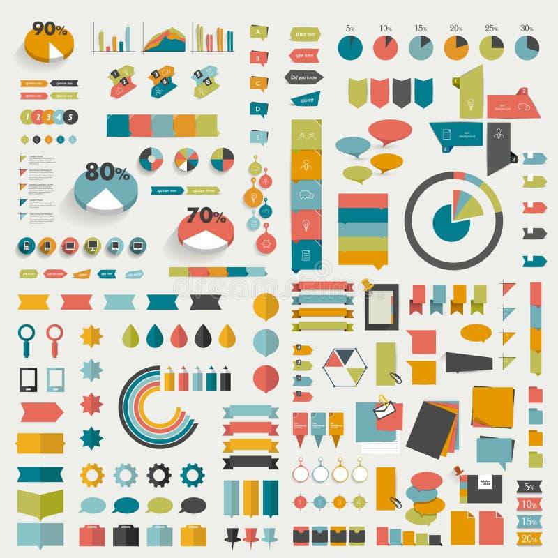 Μεγάλες συλλογές των επίπεδων διαγραμμάτων σχεδίου γραφικής παράστασης πληροφοριών διανυσματική απεικόνιση