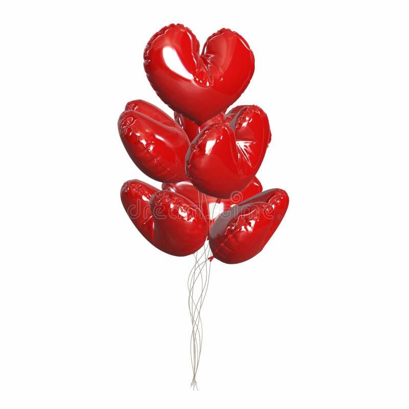 Μεγάλη δέσμη των φωτεινών και λαμπρών κόκκινων μπαλονιών, μορφή καρδιών ελεύθερη απεικόνιση δικαιώματος