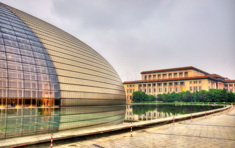 Μεγάλη αίθουσα των ανθρώπων και του εθνικού κέντρου για τις τέχνες προς θέαση στο Πεκίνο στοκ εικόνα με δικαίωμα ελεύθερης χρήσης