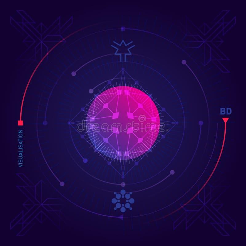 Μεγάλη απεικόνιση στοιχείων Φουτουριστικό αφηρημένο υπόβαθρο με το geom ελεύθερη απεικόνιση δικαιώματος