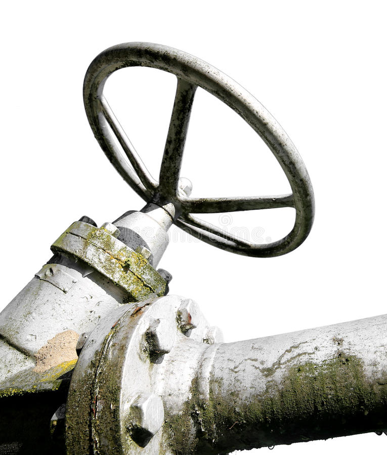 μεγάλη βαλβίδα πυλών σιδήρου για το κλείσιμο του αγωγού υγραερίου στοκ εικόνες με δικαίωμα ελεύθερης χρήσης