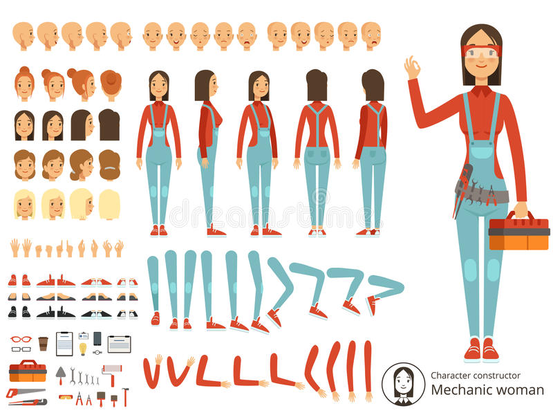 Μεγάλη εξάρτηση δημιουργιών του μηχανικού κοριτσιών στα λειτουργώντας ενδύματα Διανυσματικός κατασκευαστής με τα μέλη του σώματος ελεύθερη απεικόνιση δικαιώματος