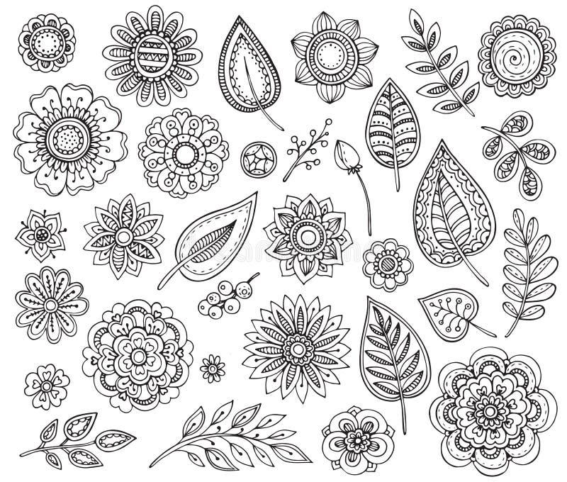 Μεγάλη διανυσματική συλλογή συρμένων των χέρι περίκομψων φανταχτερών λουλουδιών ελεύθερη απεικόνιση δικαιώματος