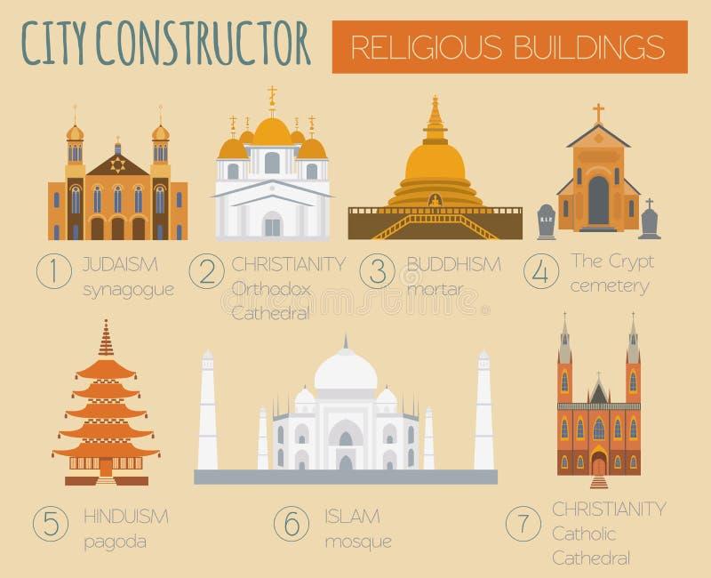 Μεγάλη καθορισμένη γεννήτρια πόλεων Κατασκευαστής σπιτιών κτήρια θρησκευτικά απεικόνιση αποθεμάτων