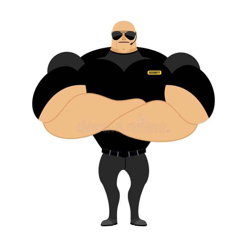 Μεγάλη και φρουρά ισχυρής ασφαλείας big man muscles Ασφάλεια gu διανυσματική απεικόνιση