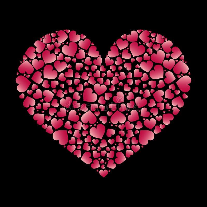 Μεγάλη καρδιά με πολλές μικρές καρδιές μέσα Στοιχείο για το σχέδιο διάνυσμα βαλεντίνων απει& άνδρας αγάπης φιλιών έννοιας στη γυν διανυσματική απεικόνιση