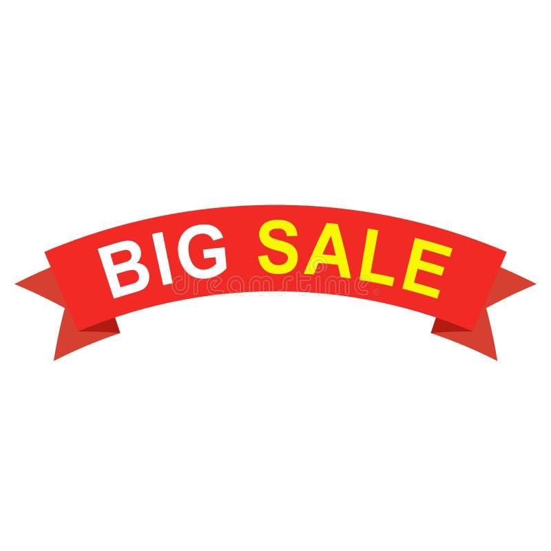Μεγάλη κορδέλλα πώλησης Επίπεδη κόκκινη κορδέλλα εγγράφου με το κείμενο για το έμβλημα, το ιπτάμενο ή το σχέδιο ιστοχώρου απεικόνιση αποθεμάτων