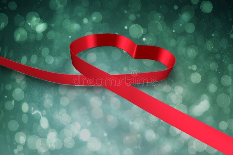 Μεγάλη κόκκινη κορδέλλα σε μια μορφή καρδιών απεικόνιση αποθεμάτων
