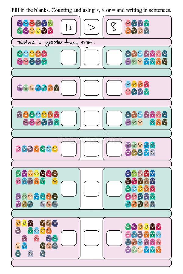 Μεγάλη μικρή ίση αρίθμηση χταποδιών Math διανυσματική απεικόνιση